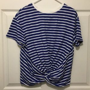 A New Day Women's Striped Short Sleeve Twist Front